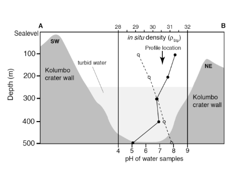 Passing gas makes islanders feel a burn: CO2 degassing, low pH and the similarities between an underwater Greek volcano and two Cameroon lakes