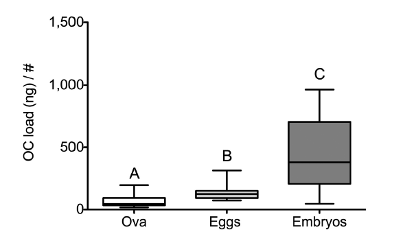 Figure 1: Researchers found that levels of contamination increased throughout the development of stingray offspring. Here, OC load/# refers to the concentration of organic contamination measured per individual at different developmental stages.