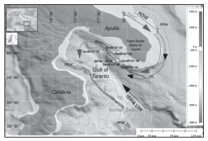 Figure 1.  Bathymetric map of the study area, showing the Gulf of Taranto, the location of sediment cores and the West Adriatic Current.