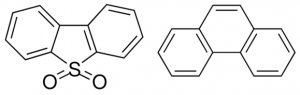 Figure 1: Polycyclic aromatic hydrocarbon (PAH) examples: conjugated carbon rings forming dibenzothiophene (DBT) (left) and phenanthrene (right) (Source: www.sigmaaldrich.com)