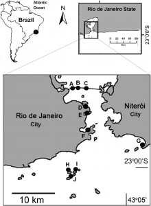 Figure 4: Study area: Sites A-F are in Guanabara Bay; Site G is Itaipu; Site H-J are part of the Cagarras Archipelago