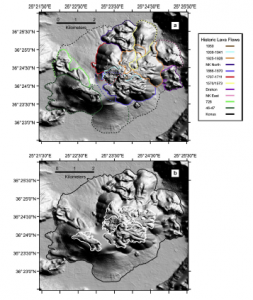 Lava flow outlines for historic lava flows in the vicinity of the Kameni islands. The top image shows new onshore/offshore lava flow outlines. The bottom image shows lava flows mapped in older studies (white contours), while the black outline shows the expanded flow extent mapped during this study.