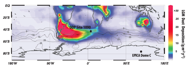 Location of ODP Site 1090, downwind of the Patagonian dust source.