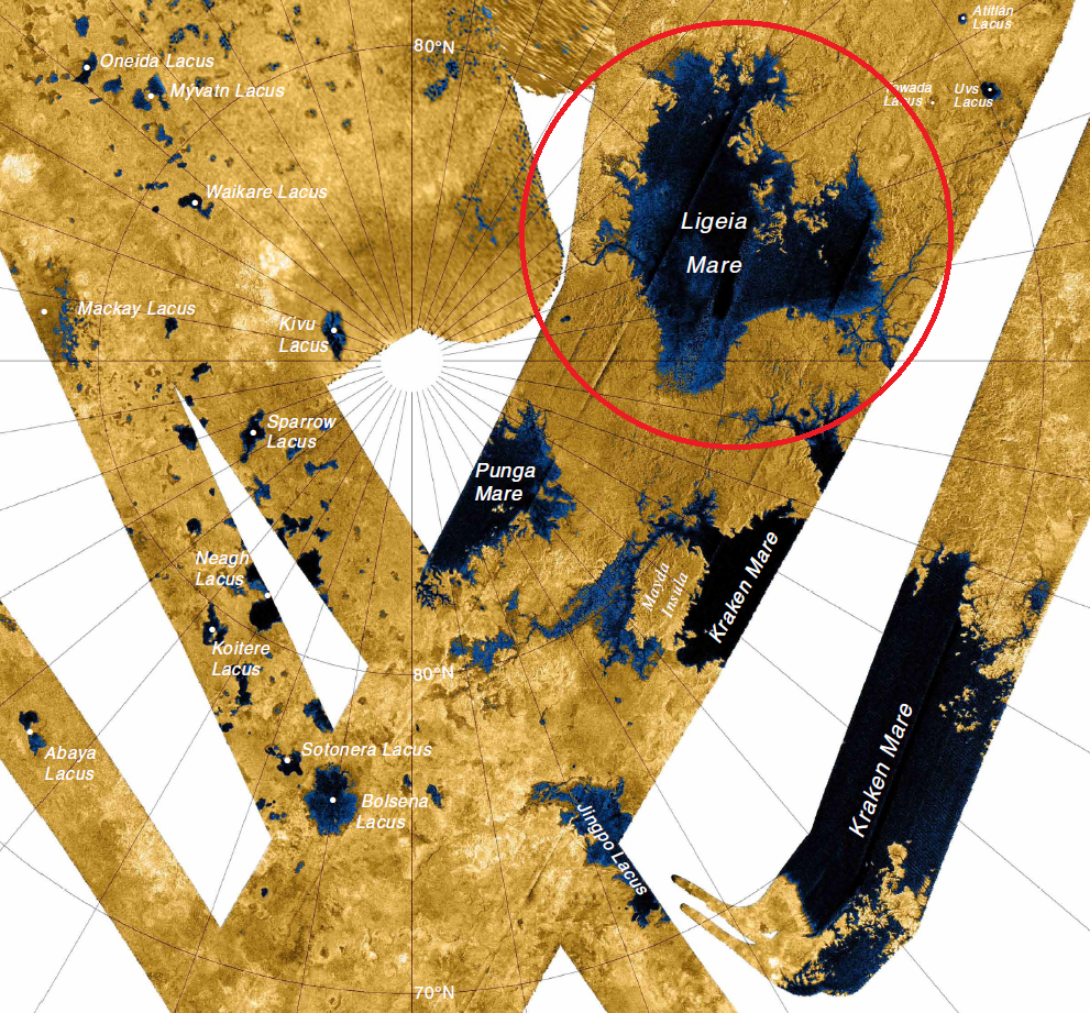 Figure 1.  An image generated by Cassini flybys to show portions of Titan's surface (NASA).  As you can see, the image is not complete because we can only see the portions of the moon that Cassini flew over.  Four flybys were used to create this image. Figure 2. Diagram of satellite coverage with mapping coordinates used to create figure 1 (Lorenz 2008).
