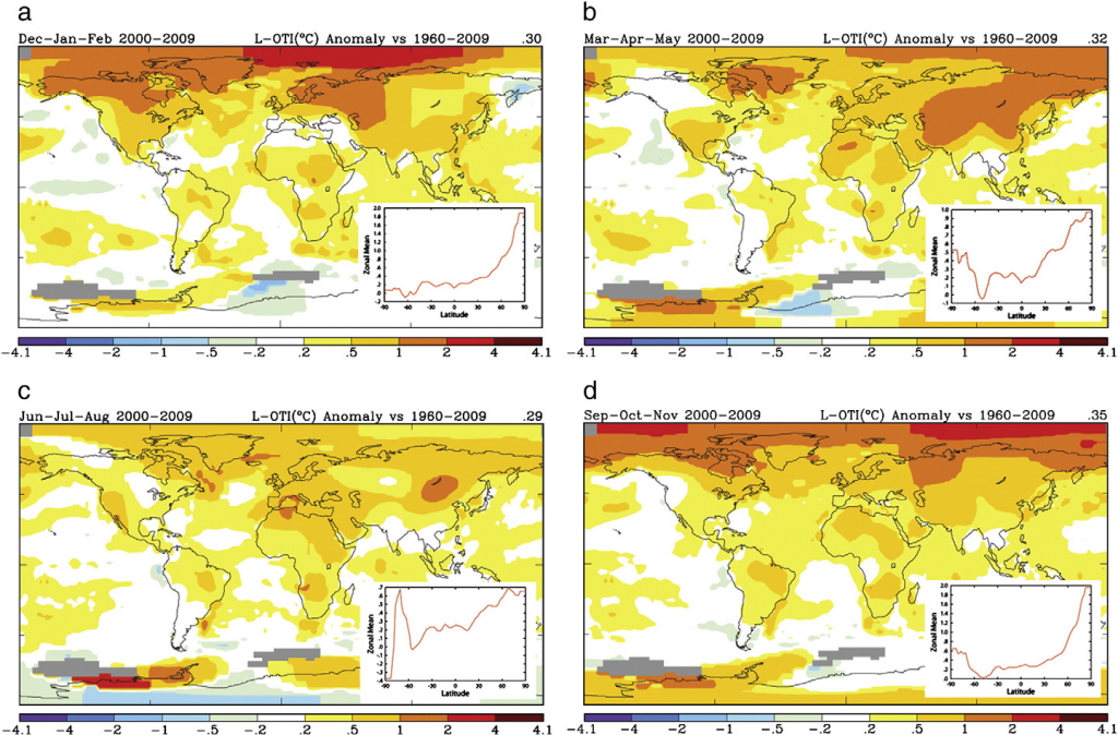 Fig 1. Anomalies of Arctic atmosphere temperature in four seasons. (Mark C. Serreze et al, 2011)