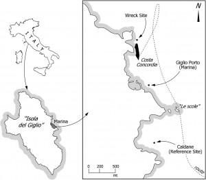 Map three translocation sites identified by the black filled circles: Wreck site, Giglio Porto, and Caldane.