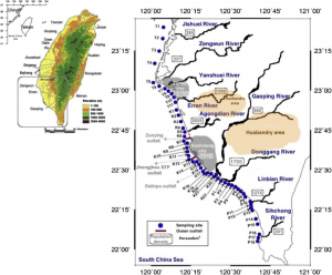 Figure 1: Samples sites along southwest coast of Taiwan. T stations are in the Tainan coast, K stations are in the Kaohsiung coast, and P stations are in the Pingdong coast.
