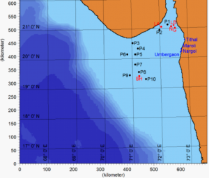 Figure 1: Beaches where samples were collected (Tithal, Maroli, Nargoi, and Umbergaon) are shown in blue. Locations of suspected oil sources are shown in red. Simulated particle release using hydrodynamic modeling was done at each of the locations marked in black. Source: Suneel et al.
