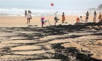 Tar balls accumulating on a Goa beach in India Source: Mayabhushan Nagvenkar, The Associated Press