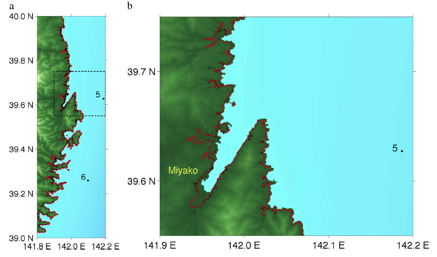 Figure 2. Tsunami wave run up and inundation observations from field surveys (black dots) and run up and inundation from dual source tsunami simulations (red line) in generally very good agreement.