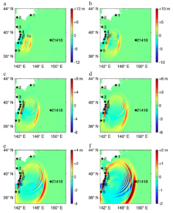 Figure 3.  Dual source tsunami wave propagation simulation, through time (a-f).  The northern submarine landslide source produces a shorter wavelength, more directionally focused tsunami, whereas the more southern seafloor vertical displacement sourced tsunami has a much larger wavelength.