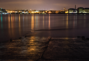 Figure 2: An example of light pollution in the Tamar, as viewed from Cremyll, UK.