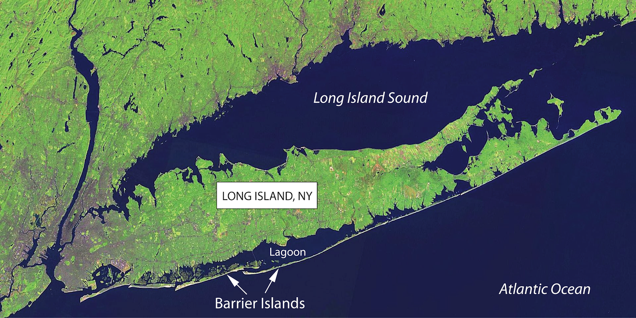 Figure 1. Long Island, NY Barrier Islands. A series of barrier islands can be seen along the southern shore of Long Island, NY.  Barrier islands are separated from the mainland of Long Island by lagoons.