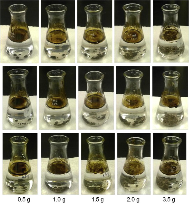 Figure 3. Comparison of oil–particle aggregate formation with different granular particles with increasing particle/oil ratios. Top row: medium limestone, middle row: fine limestone, bottom row: fine quartz.