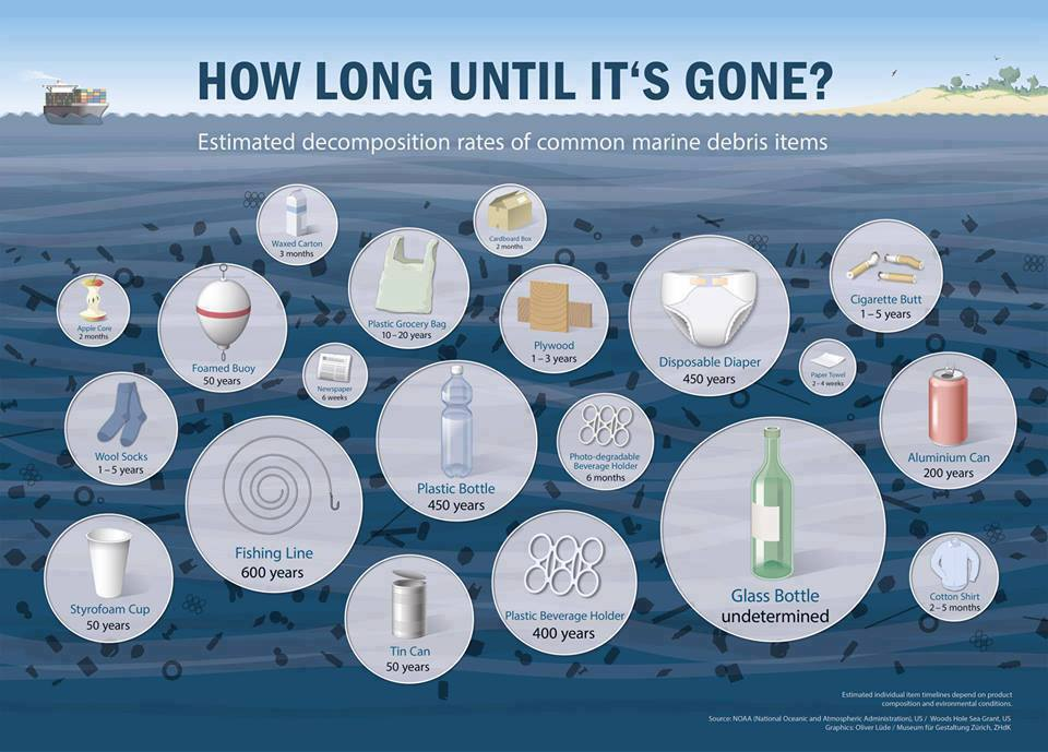 "Talk about long residence times… Many of these items will ""love"" longer than we will. Inforgraphic Source: http://reallysavvy.com/waste-10-easy-ways-to-reduce-plastic-waste/"