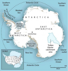 Figure 1: Location of the Totten Glacier in East Antarctica. The glacier is holding back a large storage area of freshwater that could significantly contribute to global sea level rise. (Nature Geoscience).