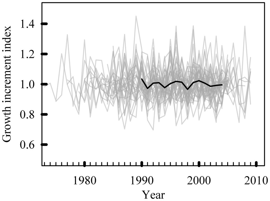 Figure 3. Individual otolith growth rates (grey) and mean growth rates (black) for the 1990-2004 period used in the analyses (Nguyen et al. 2015, Fig. 2).
