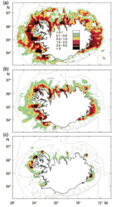 Location of annual fish catches (tonnes per nautical square mile) in the Icelandic longline fishery during 2005 – 2012, (a) cod, (b) haddock, and (c) wolffish. Depth contours at 100, 200, and 500 m.