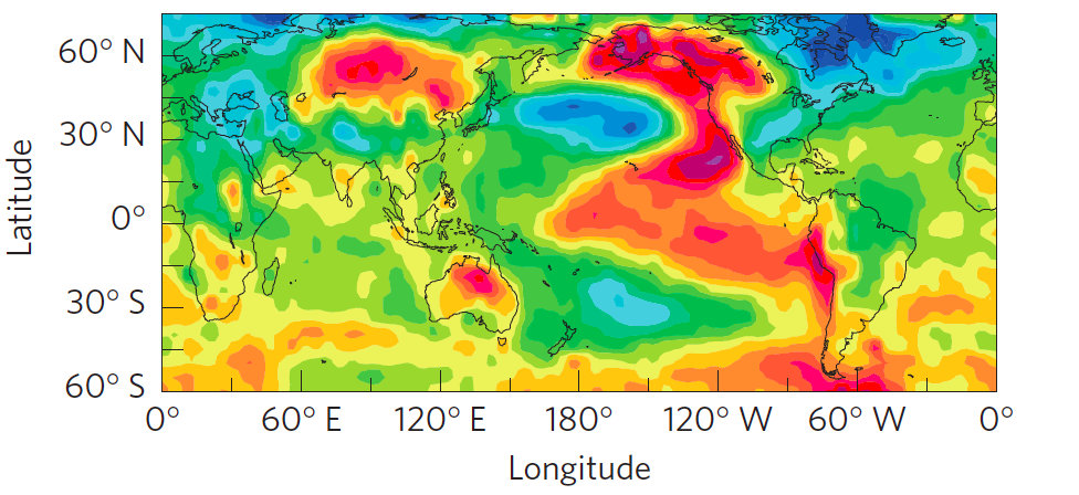 Interdecadal Pacific Oscillation (IPO) surface temperature correlation pattern after removing the anthropogenic-warming signal. Warm colors are surface temperatures that are positively correlated to the IPO and cool colors are negatively correlated with the IPO (modified from Dai et al., 2015).