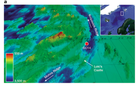 """Really sunken treasure. Collection site of 10-gram """"gravity"""" core analyzed in the study indicated by red dot)."""