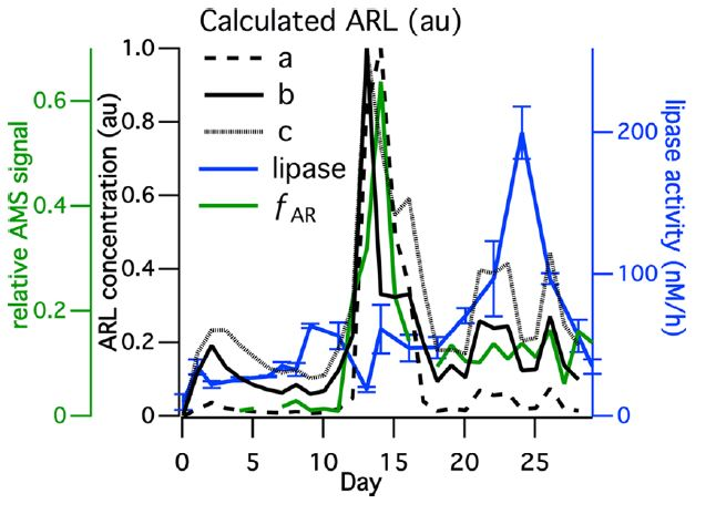 Figure 3. Box model of aliphatic rich labile (ARL) compounds found in SSA can be determined based on heterotrophic bacteria activity (represented by the enzyme ligase). Lines a, b, and c represent model outputs based on different starting parameters. Overall, the general trend matches what was observed in the tank – as heterotrophic bacteria increase in abundance and activity, the FAR decreases, supporting their hypothesis that microbial degradation of organic compounds influences the composition of SSA, and ultimately its ability to seed clouds.