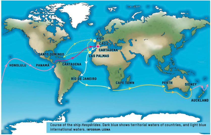 Figure 1: The path of the R/V Hespérides during the Malaspina circumnavigation