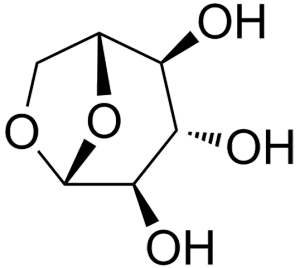 Figure 3: The molecule levoglucosan, a biomarker commonly used to measure paleo-fire activity.