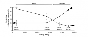 Fig. 5: This figure shows the behavior of both loggerhead turtles and tiger sharks based on how much overlap their is between the home ranges. Turtles appear to surface more when overlap is highest, while sharks dip below the surface presumably to gain a hunting advantage.