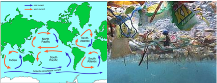 Figure 1: Major gyres of the world | artist representation of an underwater view of the giant Pacific garbage patch