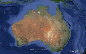 Figure 1) Location of the cave (KNI-51) studied in Northern Australia.