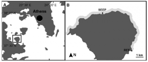 Fig. 3: These are the sites used by the researchers. REF indicates the site with normal pH, SEEP indicates the low pH site.
