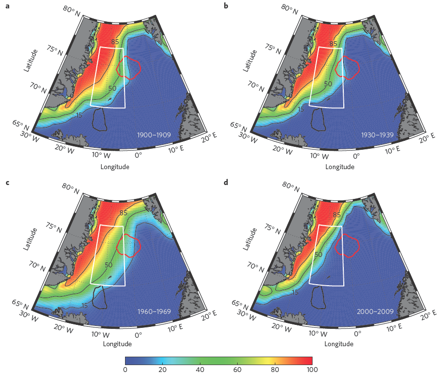 Figure 2. Decadal mean sea-ice extent.  Colored scalebar represents the percent concentration of sea-ice for 1900-1909 (a), 1930-1939 (b), 1960-1969 (c), and 2000-2009 (d).  The red and black outlines represent the convective areas of the Greenland and Iceland Seas, respectively.