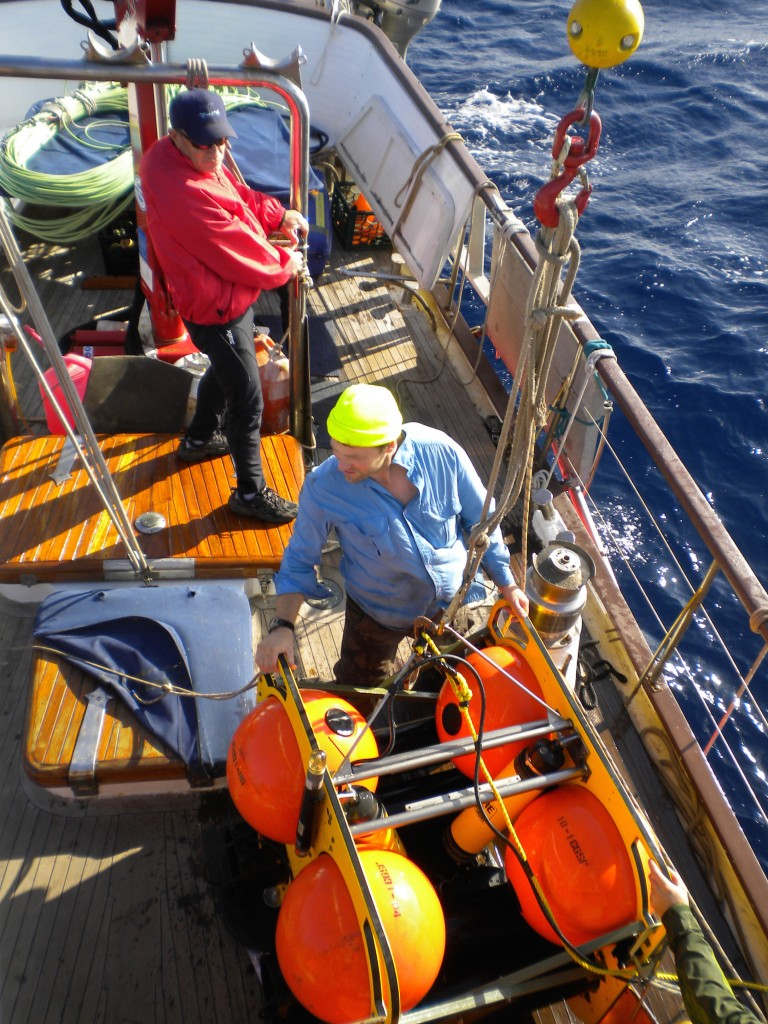 Aboard the R/V Odyssey, Josh readies a HARP to be deployed in the Gulf of Mexico. Credit: Zoe Gentes.