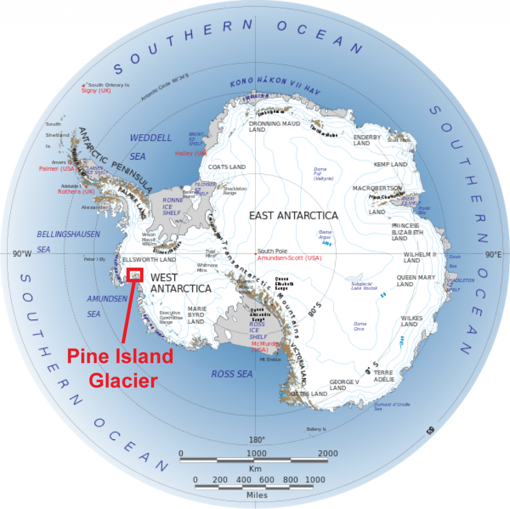 Figure 2. Pine Island Glacier is located in the West Antarctic Ice Sheet. Melting of the Pine Island Glacier leads to hosing or meltwater pulses to the Amundsen Sea.