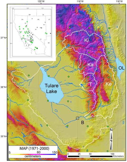 Figure 1: location of the Tulare Lake basin in California and the watersheds of the 4 rivers draining into it.