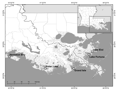 Fig. 2: Five sites of oyster reef restoration along the Louisiana coast. Source: La Peyre et al. 2015. https://doi.org/10.7717/peerj.1317