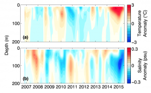 Figure 3. from Zaba et al. (2016) showing how the temperature in the top 200 m of the ocean changed from 2006-2015. The warming in 2014-2015 in the top panel is clearly concentrated near the ocean surface.