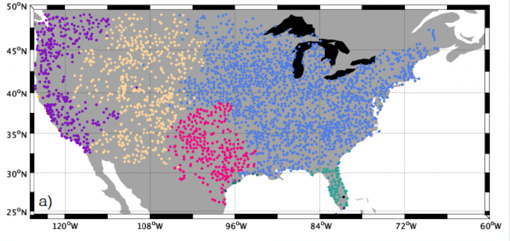 Figure 1: Shows the region definitions used in the study. These are termed: the maritime west coast (purple), the arid interior west (yellow), the semiarid and subtropical southwest (pink), tropical Florida (green), and the humid and continental eastern U.S (blue).