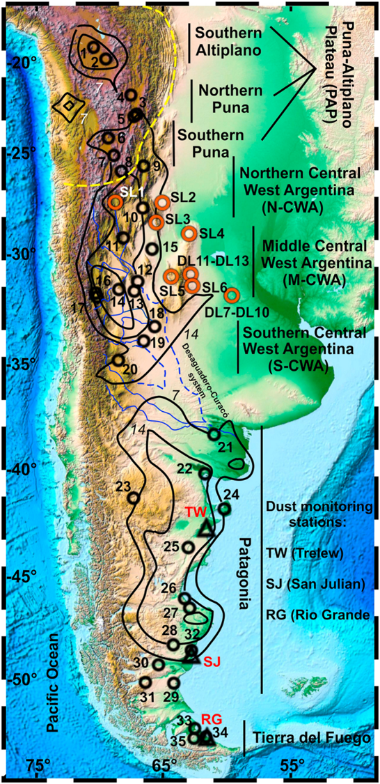 Figure 3: Map of South America showing the locations of dust and loess sampled for lead isotopes as possible sources of dust deposited in Antarctic ice cores. From Gili et al. 2016