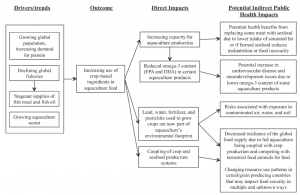 Fig 2 - A conceptual framework that summarizes the direct and indirect impacts of an increasingly agricultural-linked aquaculture industry.  Source: Fry, J.P., Love, D.C., MacDonald, G.K., West, P.C., Engstrom, P.M.,  Nachman, K.E., Lawrence R.S., (2016).  Environmental health impacts of feeding crops to farmed fish.  Environmental International.  91:201-214.