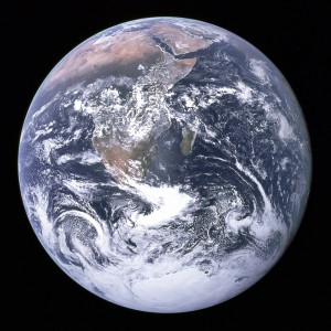 "Pretty, isn't it? ""The Blue Marble"" photograph of Earth, taken when the Apollo 17 mission rocketed to the moon in 1972. This picture is featured on the official Earth Day Flag. [Wikimedia]"