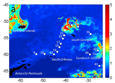 Figure 2: Figure 2: map of the locations sampled. The color bar indicates algal productivity. The red areas surrounding South Georgia are algal blooms caused by iron runoff. From Le Moigne et al. 2016.