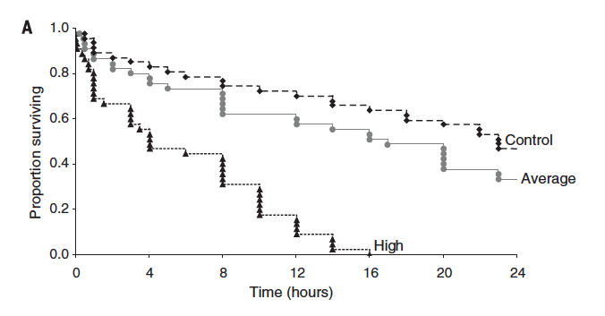 Fig. 5: Survival rates of larval fish exposed to a predator over a 24-hr period, separated by how much micro plastic larvae were exposed to.
