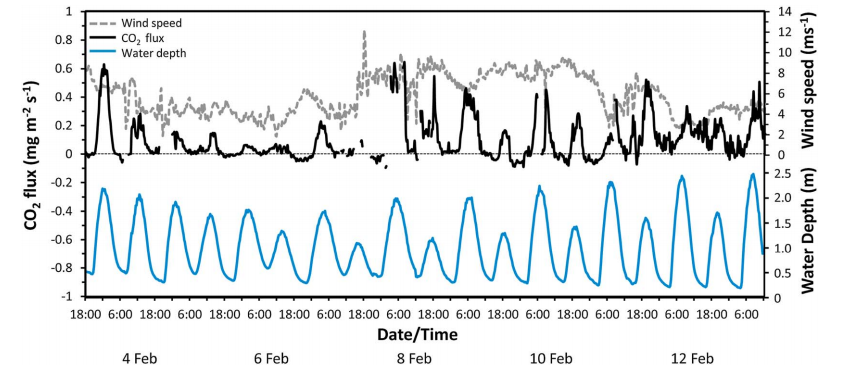 Figure 3: The CO2 flux into and out of the ocean over the reef flat. Positive numbers indicate CO2 was flowing out of the ocean, and negative numbers indicate the ocean was absorbing CO2.