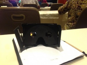 Proud owner of a pair of cardboard virtual reality goggles (Photo Credit: Megan Chen)