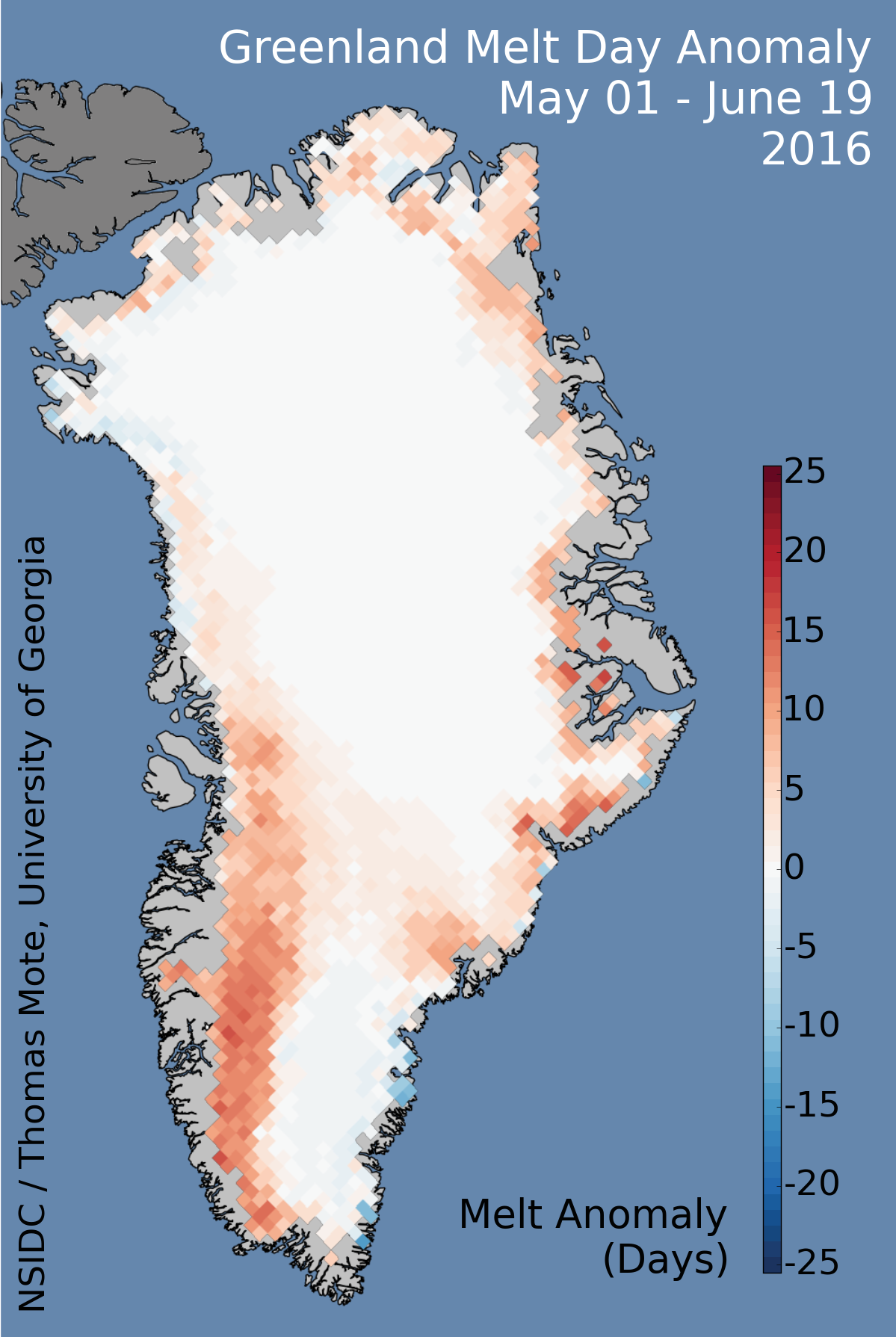 Map of Greenland colored by the difference in the number of days ice was melting in 2016 compared to the 1981-2010 average. Reds signify above average numbers of melt days in 2016. It's normal for the Greenland ice sheet to melt a little every summer when temperatures rise above freezing, but during the last few years there have been many more days that the ice is actively melting. Source: http://nsidc.org/greenland-today/