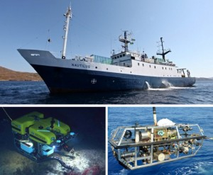 Tools for exploration: The E/V Nautilus (top) and the two ROVs, Hercules (bottom left, in water collecting a sample), and Argus (bottom right, getting lowered into water before a dive).
