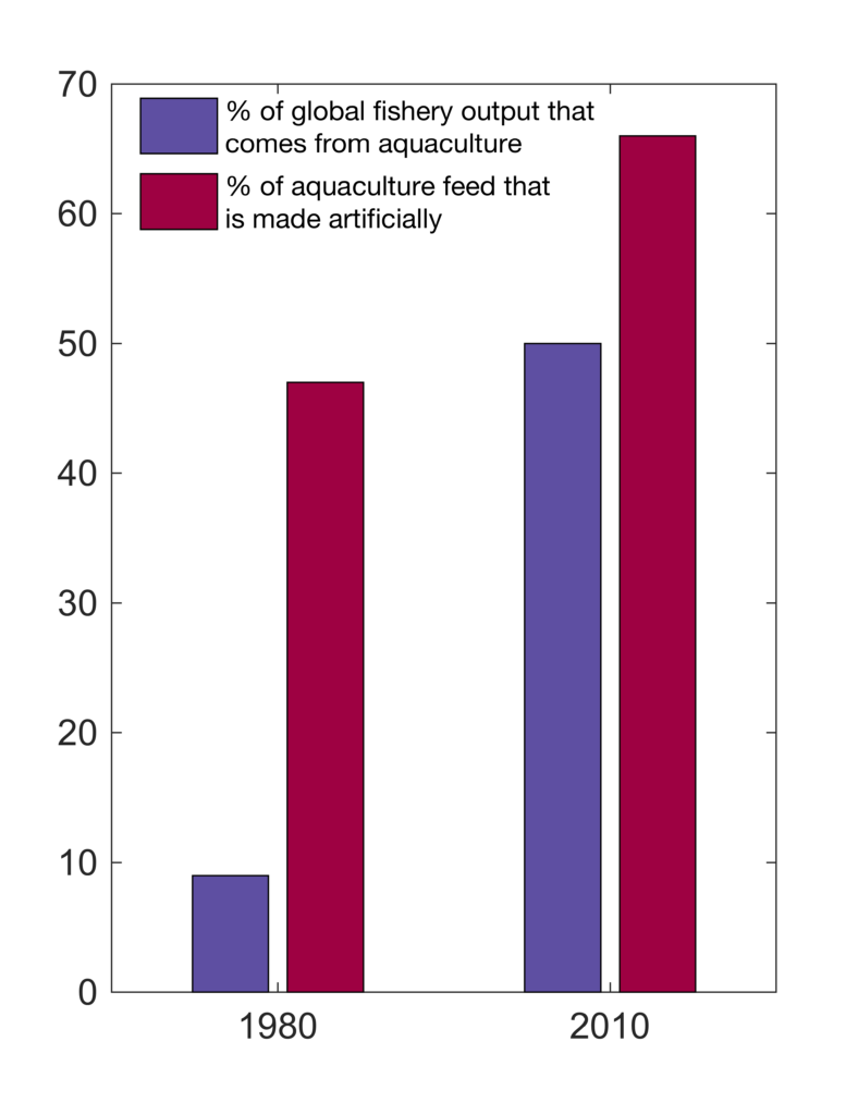 Aquaculture differences between 1980 and 2010. Both the percentage of total global fishery output that came from aquaculture and the percent of aquaculture feed that was made artificially increased between 1980 and 2010. (Source: FAO (Food and Agriculture Organization of the United Nations) (2012) The state of world fisheries and aquaculture (SOFIA))