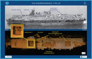 The USS Independence prior to atomic bomb trials (top) and the sonar map from the AUV Echo Ranger (bottom). Image from NOAA, CODA, and Boeing.