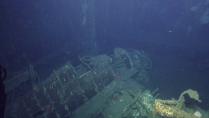 The Grumman Hellcat found in the USS Independence's elevator shaft. Image from nautiluslive.org